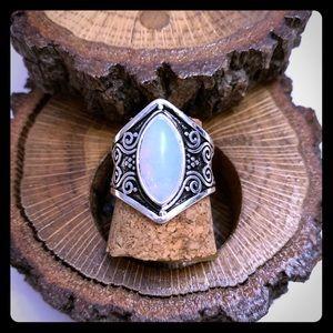 Boho Sterling Silver Moonstone Ring Size 9